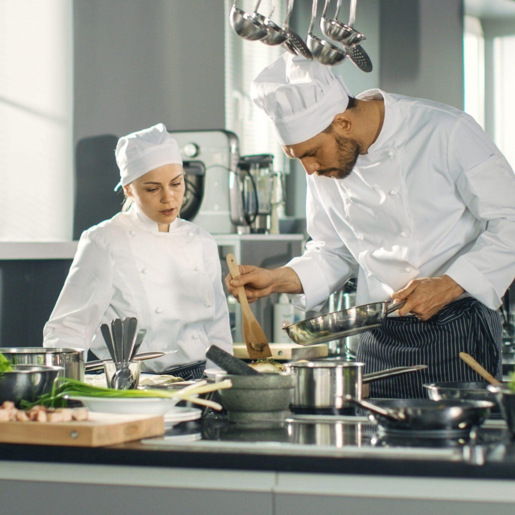 Famous,Chef,And,His,Female,Apprentice,Prepare,Special,Dish,In